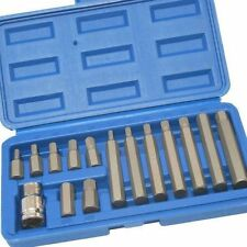"15pc Hex Bit Set Allen Key Socket Set 1/2"" Drive Adaptor In Case 75mm 30mm"