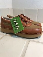 NWT Cabelas Leather Canvas Walking Shoes 10 Wide Vibram Sole Fishing Hunting