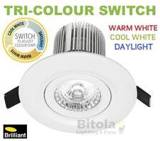 BRILLIANT LUXOR CCT TRI COLOUR 10W LED DOWNLIGHT WARM/COOL/DAYLIGHT WHITE - COB