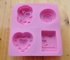 4-Assorted Angel Heart Cake Mold DIY Cookie Mould Flexible Silicone Chocolate