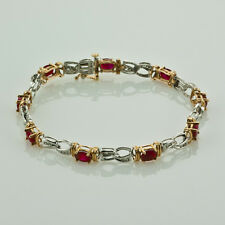 5.50 CT. RUBY & 0.40 CT. DIAMOND GEMSTONE TENNIS BRACELET 14K WHITE YELLOW GOLD