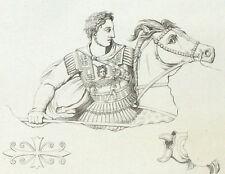 Alexander antico cavallo Cavaliere - Incisione originale 19esimo secolo