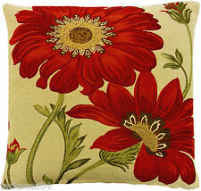 """FILLED GOLD RED GREEN FLORAL TAPESTRY 18"""" THICK CUSHION"""