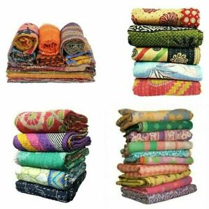 Vintage Kantha Quilt 10 PC Lot Indian Reversible Handmade Throw Bedspreads Rally