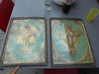 Epoque Napoléon III / Tableaux Icônes La Croix Jésus Christ et la Vierge Marie