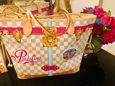 PORTOFINO Louis Vuitton Summer Trunk PINK Damier Azur NEVERFULL Bag Tote Mykonos