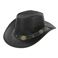 Outdoor Leather American Stockade Large Black Wrangler Cowboy Hat