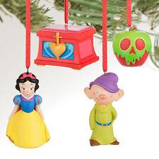 Disney Store Snow White 4pc Mini Christmas Ornament Figure Set Dopey Apple Chest