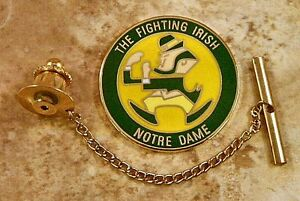 Notre Dame Tie Tack Pin and Chain Clasp