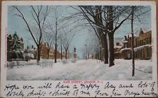 Orange, NJ 1904 Postcard w/RPO Postmark: Main Street in Snow - New Jersey