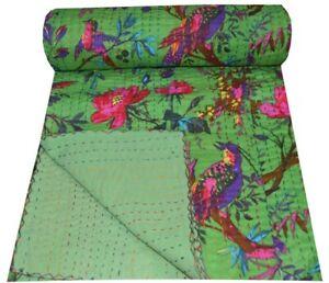 Indian Handmade Bird Print Kantha Quilt Twin Green Bedding Bedspread Throw Quilt
