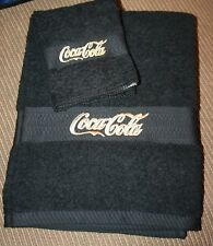 """""""Coca Cola Inspired"""" 1 Black Bath towel & 1wash cloth w/goldtone/tan thread"""