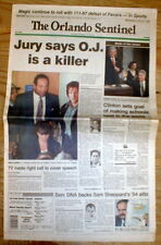 1997 headline newspaper OJ SIMPSON FOUND GUILTY n MURDER of wife and Ron Goldman