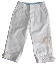 Old Navy Girls Cropped Pants Distressed Chino White Embroidered Trim Size 8