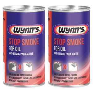 2x WYNNS STOP SMOKE CAR PETROL DIESEL EXHAUST EMISSIONS ADDITIVE TREATMENT 325ml