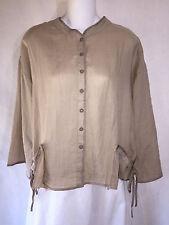 KLEEN Loose Ramie Ribbon Pocket Lagenlook Kimono Jacket Shirt Top Brown S NWT