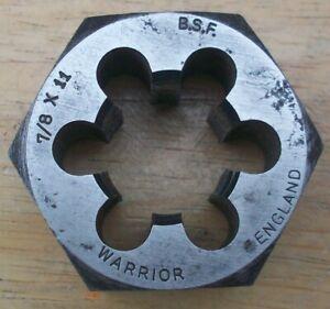 """7/8"""" BSF SCREW THREAD REPAIR HEX DIE NUT ~ 11 TPI ~ WARRIOR BRITISH MADE"""