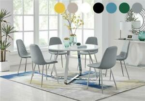 Santorini White Round High Gloss and Chrome Dining Table & 6 Modern Chairs Set