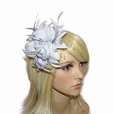 **NEW** SILVER CORAL HAIR FASCINATOR  - FLOWER FEATHER PEARL WEDDINGS RACES