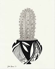Little Saguaro - Original Drawing - Cactus Southwest Native American Art