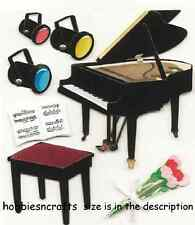 EK SUCCESS JOLEE'S BOUTIQUE 3-D STICKERS  - MUSIC FLOWERS LIGHTS PIANO RECITAL