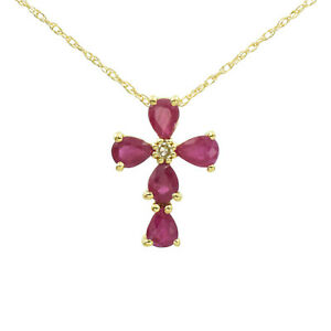 """NEW! Ruby And Diamond Cross Pendant Necklace In 14k Yellow Gold, 17"""", 1.4 grams"""