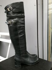 Women's Over knee  BOOTS  Black leather Size: 38 sz 5 uk By Spaziomoda Bologna