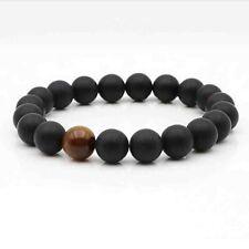 Matte Black Onyx Men's 10mm Beads Bracelets With Tiger Eye Bead Handmade Jewelry