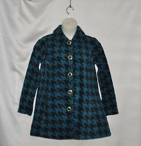 Bob Mackie Houndstooth Print Fleece Jacket Size S Teal