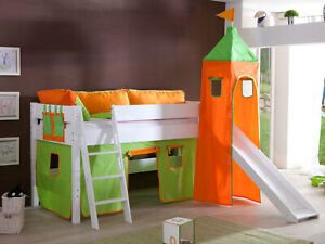 Vorhang mit Turmzelt Stoff für Hochbett Spielbett Kinderbett in grün orange