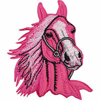 Pink Horse Pony Embroidered Iron Sew On Patch Equestrian Jacket Shirt Bag Badge