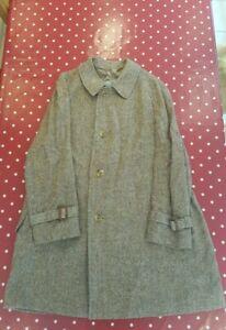 Vintage Aquascutum mens brown Irish Tweed overcoat 42 Reg EXCELLENT CONDITION