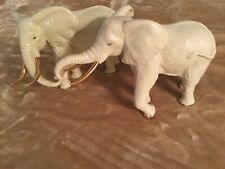 2 Larger Lenox Ivory China Elephant Figurines, Gold Accents, One From 1996