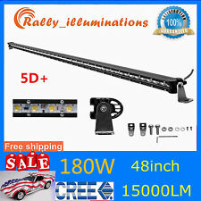 "5D Slim 48inch 180W LED Work Light Bar Driving Fog Light Truck Single Row 50/52"""