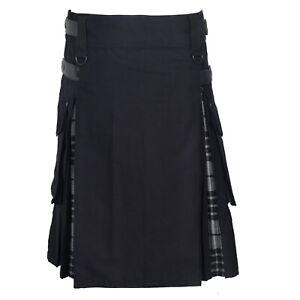 Men's Hybrid Leather Straps, Cotton & Tartan Utility Kilt - Highland Grey