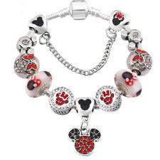 Mickey Minnie Mouse Palacio De Amor Corazón De Plata pulsera con dijes Regalo De San Valentín Rojo