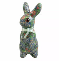Vintage Ceramic Easter Bunny Rabbit Figurine Colorfull Blue Bow Accent Decor