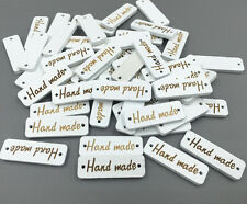 100pcs white Wooden sewing 'Hand made' Lettering 2-hole Scrapbooking Crafts 30mm