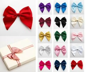 Self Adhesive Bows LARGE 10cm Pre Tied 38mm Satin Ribbon Wedding Craft Gift Wrap
