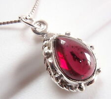 Small Red Garnet Pendant 925 Sterling Silver Rope Style Decor on Sides New