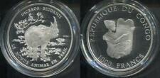 CONGO KONGO 2004 - 1000 Francs in Silber, PP - WILDLIFE NASHORN