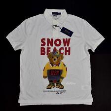 NWT Polo Ralph Lauren Snow Beach Bear Logo Print Men's Shirt L White AUTHENTIC