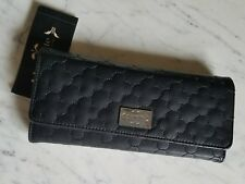 Nanette Lepore Black Quilted PVC Fold Lipstick & Phone RFID Wallet Clutch NWT
