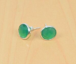 FREE SHIP 925 SOLID STERLING SILVER FACETED GREEN ONYX STUD EARRING