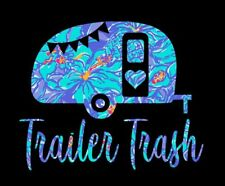 "Trailer Trash in Blue Floral Pattern Printed Decal for Car/Truck/Window 6""x5"""
