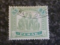 MALAYAN STATES PERAK POSTAGE & REVENUE STAMP SG76 $1 GREEN/PALE GREEN FINE USED