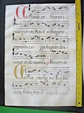 Colossal Liturgical Music Manuscript Leaf, on Vellum,handpainted Initia.ca.1600