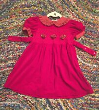 Boutique Red Velvet Vintage Dress Girls 5 Party Formal Childrens Rare Photo Day