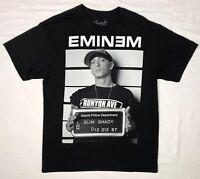 Eminem Mens Slim Shady Mugshot Rap Hip Hop Black S/S T-Shirt Sz Large E1