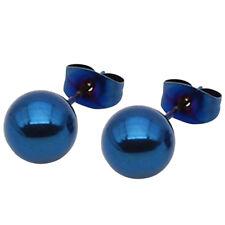 1 Pair Unisex Stainless Steel Stud Earrings Women Plain Round Ball Earrings Gift
